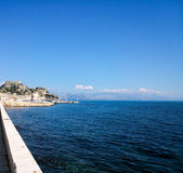 Old fortress, blue sky and sea. In Corfu island Greece Stock Images
