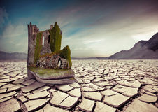 Old fortress on the boot in the desert Royalty Free Stock Images