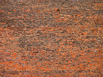 Old red red brick texture. Old fortress brick wall with weathered red bricks Royalty Free Stock Photos