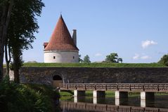 Old Fortress with a bridge. Through a ditch in Estonia Royalty Free Stock Photography