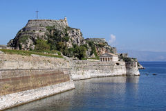 The old fortress and the Church of St. George in Corfu, Greece Stock Images