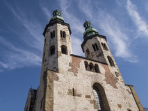 Old fortress church with two towers Royalty Free Stock Photos