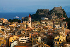The Old Fortress of Corfu in Corfu, Greece Stock Image