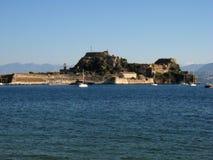 "Old fortress in corfu greece. One of two fortresses, this one the ""old"" fortress, in the port of Kerkyra, Corfu, Greece Stock Photos"
