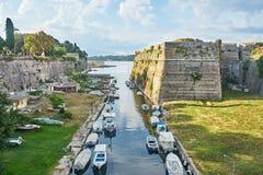 Old fortress Corfu  island, Greece. Old fortress main entrance bridge at Corfu island, Greece Royalty Free Stock Photography