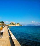 Old fortress of Corfu island Greece. A view from garitsa area Stock Photo