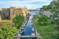 Old fortress Corfu. Old fortress main entrance bridge at Corfu island, Greece Royalty Free Stock Photo