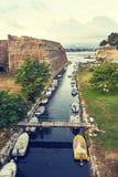 Old fortress Corfu. Old fortress main entrance bridge at Corfu island, Greece Royalty Free Stock Photography