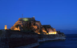 Old fortress in Corfu at night Stock Photo