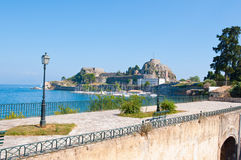 The Old Fortress of Corfu seen from the shore. Corfu island, Greece. Stock Image