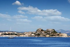 Old fortress Corfu town cityscape Stock Image