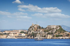Old fortress and Corfu town Royalty Free Stock Image