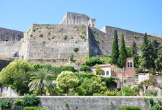 Old Fortress in Corfu Town, Greece. Old fortress and walls in the town of Corfu, Greece Stock Image