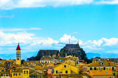 View from fortress in Corfu. View over the town in Corfu on the Greek Island, from the new fortress situated on the Agios Markos hill, blue sky and cloud Royalty Free Stock Photo