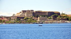 Old fortress and Corfu town view from the sea, Greece Stock Photo
