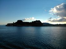 Fortress, Corfu, Greece. Silhouette of fortress on shores of Corfu, Greece Stock Images