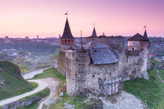 Old fortress on the hill. Evening in the old town. Kamenetz-Podolsk, Ukraine, Europe Royalty Free Stock Photography