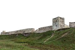 Old fortress on the hill isolated on white background stock image