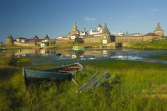 Old fortress on the island. Solovki islands in White sea, Russia Royalty Free Stock Image