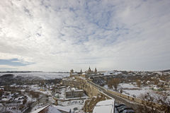 Old fortress in Kamyanets Podolsky Ukraine. Winter panorama of an old fortress in Kamyanets Podolsky Ukraine Stock Photography