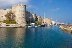Old fortress in Kyrenia Girne. Beautiful medieval fortress in Kyrenia Girne, North Cyprus Stock Images