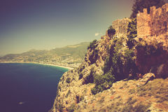 The old fortress and Mediterranean sea in Alanya, Turkey. Filtered image:cross processed vintage effect Royalty Free Stock Image