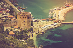 The old fortress and Mediterranean sea in Alanya, Turkey.. Filtered image:cross processed vintage effect Royalty Free Stock Photos