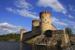Old fortress Olavinlinna. Historic sight Olavinlinna of Savolinna in Finland. August 12, 2010. Swedish: Olofsborg Stock Photography