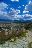 Old Fortress Path. A path from an old fortress leading down to a Tibetan village Royalty Free Stock Photo