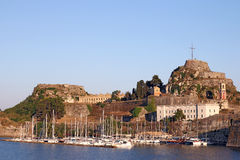 Old fortress and port with boats Corfu town Royalty Free Stock Photo