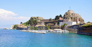 Old fortress and port on the island of Corfu, Greece Royalty Free Stock Image