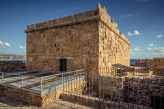The old fortress in the port of Paphos Stock Image