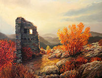 Old Fortress Ruins. An oil painting on canvas of an old fortress ruins on a mountiain top. Warm light of the sunset is in harmony with the autumn colors of the Royalty Free Stock Image
