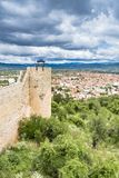 Old fortress ruins of tzar Samuel in Ohrid in a beautiful summer day. Republic of Macedonia, vertical Royalty Free Stock Photography
