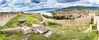 Old fortress ruins of tzar Samuel in Ohrid in a beautiful summer day, Republic of Macedonia. Panorama Stock Photos