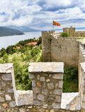 Old fortress ruins of tzar Samuel in Ohrid in a beautiful summer day, Republic of Macedonia. Vertical Royalty Free Stock Photo