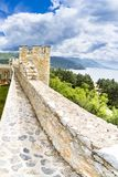 Old fortress ruins of tzar Samuel in Ohrid in a beautiful summer day, Republic of Macedonia. Vertical Stock Image