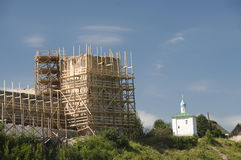 Old fortress in scaffolding Stock Image