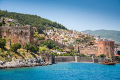 Old fortress and sea. In Alanya, Turkey Royalty Free Stock Images