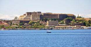 Old fortress and the sea, the city of Corfu, Greece, Europe Royalty Free Stock Photography