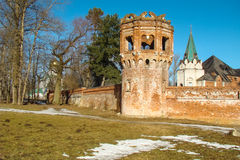 Old fortress towers. And walls with battlements Royalty Free Stock Photos