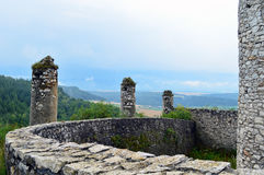 Old fortress view from far away. In autumn with colorful environment stock image