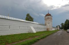 The old fortress wall of the monastery. Suzdal, Russia. Summer landscape, The old fortress wall of the monastery. Suzdal, Russia stock photo