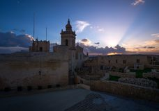 The old fortress walls of the city of Victoria Rabat. The island of Gozo. Malta. Sunset in the old fortress Stock Images
