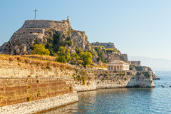 Old fortress walls and clock tower Royalty Free Stock Photos