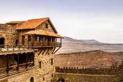 Old fortress walls with merlons, David Goreja monastery ortodox stock images