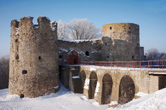 Old fortress in the winter sunny day. Historical ruins Stock Photography