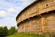 Old fortress wooden wall Stock Photo