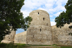 Old fortress. Old fortress (XIV-XVII) in Russia, Izborsk, near Pskov. Vview of the tower Ryabinovka Stock Image