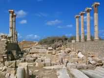 The Old Forum in Leptis Magna. Libya. Leptis Magna. The Old Forum - The Temple of Rome and Augustus stock photography